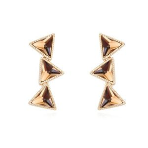 Alloyplated  Edge set three conditions boutique earrings Brown 14903