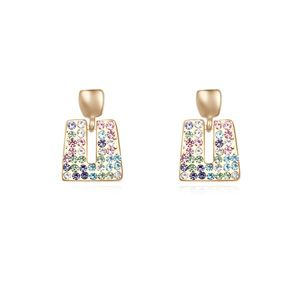 Austrian imitated crystal earrings  Fantasy Color + Champagne Alloy  14859