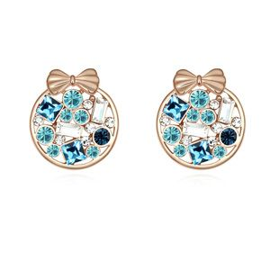 Austrian imitated crystal earrings  Fondant Garden Navy blue + Rose Alloy  14807