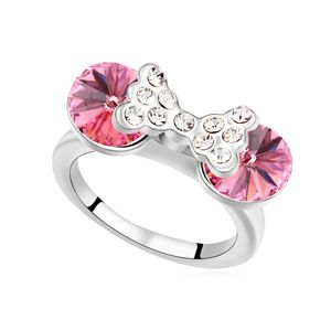 Austrian Imitated crystal Ring  Princess Miao Love Rose Red 14762