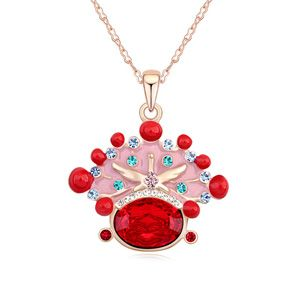 Austrian imitated crystal necklace - Bridal Necklace (Light red + Champagne Alloy ) 14746