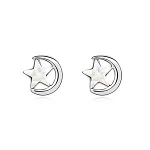Austrian imitated crystal earrings  A star one meaning White 14503