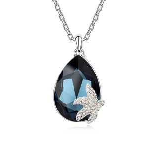 Austrian imitated crystal necklace  City Starfish Blue ink 14453