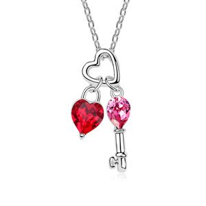 Austrian imitated crystal necklace  Open your heart Red 14411