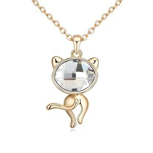 Austrian imitated crystal necklace  Lucky cat White + Champagne Alloy  14349