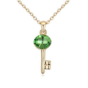 Austrian imitated crystal necklace - Locks of love (Olive + Champagne Alloy ) 14345