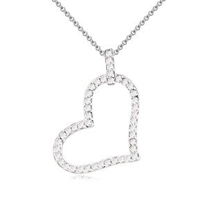 Austrian imitated crystal necklace - A single bell heart (White) 13940