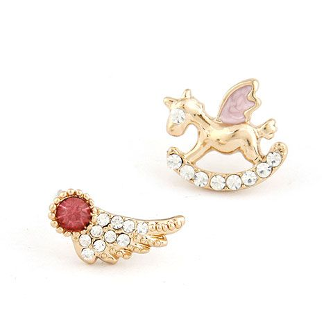 EXQUISITE Sweet ol gem wing small horse unique asymmetry ear studs 216294