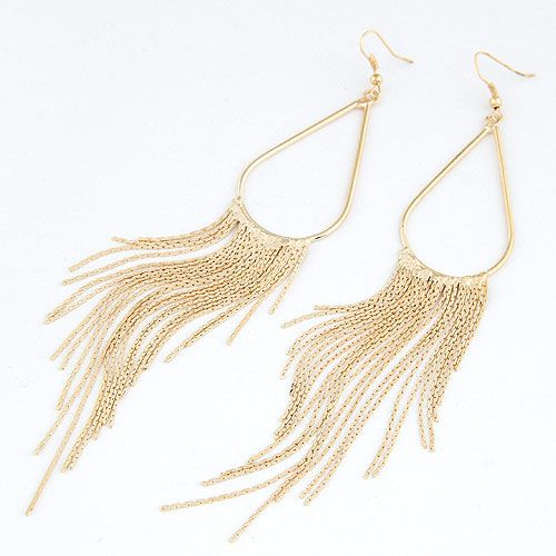 OL concise alloy color tear drop tassel earrings 216273