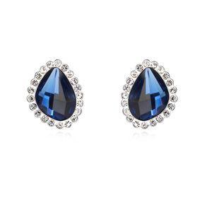 Austrian imitated crystal earrings - Radio Paris (Blue ink) 15016