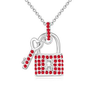 Austrian imitated crystal necklace  Fairy key Light red 14970