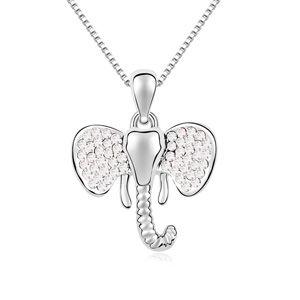 Austrian imitated crystal necklace - Happy little elephant (White) 14963