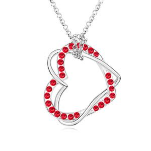 Austrian imitated crystal necklace  Heart dependent Light red 14958