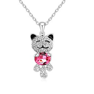 Austrian imitated crystal necklace - Angel Bear (Rose Red) 14951