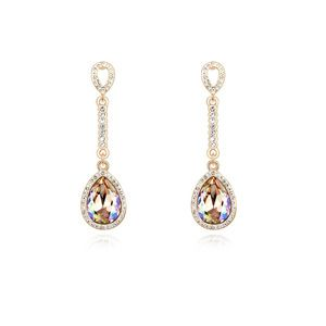Austrian imitated crystal earrings - Mermaid Teardrop (Glow Green + Champagne Alloy ) 15177