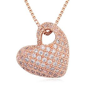 Necklace Micro Pave CZ AAA grade - Bell Heart (White + Rose Alloy) 15628
