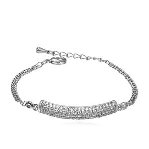 AAAMicro Pave CZ Bracelet  Corner With Love White + White alloy 15950