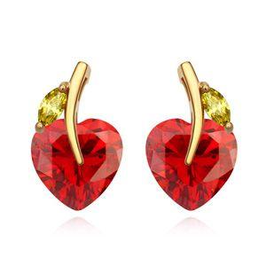 AAA grade zircon earrings - Boat leaves the heart (Pomegranate red) 15913