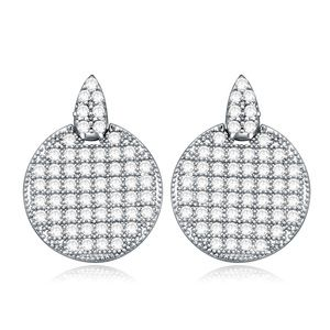 AAA-Micro Pave CZ Stud Earrings - Simple Love (White + White alloy) 15910
