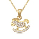Necklace Micro Pave CZ AAA grade  Small horse White + Champagne Alloy 15927