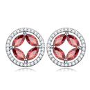 AAAMicro Pave CZ Stud Earrings  Love Song Pomegranate red 15895