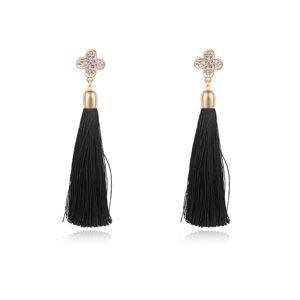 Austrian imitated crystal earrings - Sensation four leaf (Black + Champagne Alloy) 15599