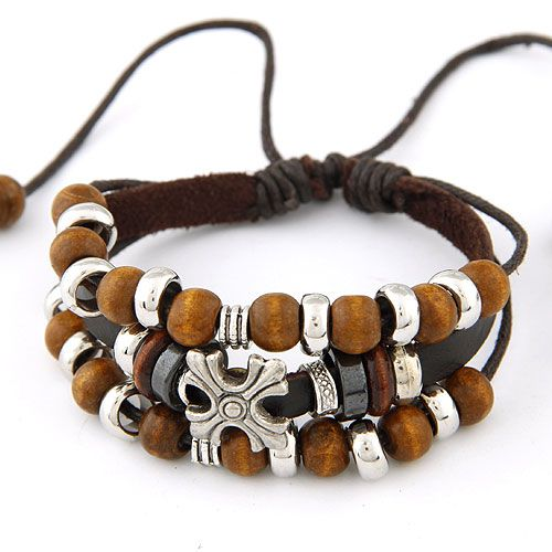 ( coffee ) Occident fashion national wind cross and beads leather multi-layer bracelet 216578