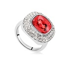 Austrian Imitated crystal Ring  Only as shown signs Red water lilies 15485