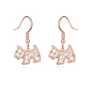 Austria Imitated crystal Earrings-Lingling dog ( White + Rose Alloy ) 16027