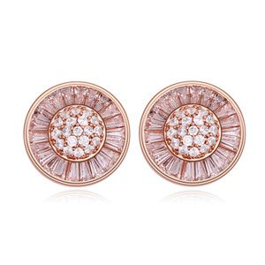AAA grade zircon earring inlaid by hand - Imitated crystal cap ( White + Rose Alloy ) 16475