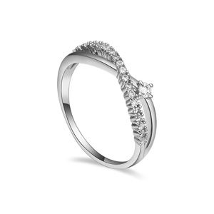 AAAMicro Pave CZ Ring  Eternal Cross  White  16450