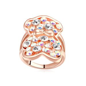 Austrian Imitated crystal Ring  Princess Bear  Color white + Rose Alloy  16120