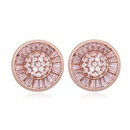 AAA grade zircon earring inlaid by hand  Imitated crystal cap  White + Rose Alloy  16475