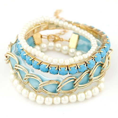 Lady OL easy match fabric art gem Beads multi-layer bracelet ( peacock blue ) 216763