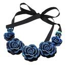 Occident fashion blue enchantress rose ribbon short collar necklace 216702