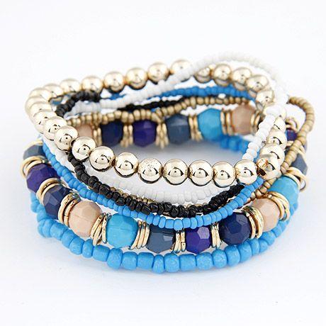 Bohemian style  Mix rice beads multi-layer bracelet ( blue ) 208171