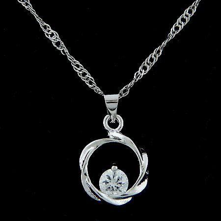 Sweet blossoming Cubic Zirconia pendant necklace 217531