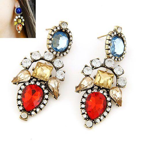 Occident fashion brand boast shining gems earrings ( red ) 217518