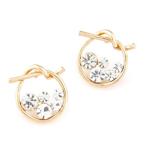 EXQUISITE Sweet gem embedded concise woven ear studs 217585