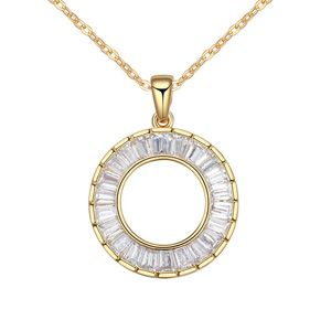 AAA grade zircon necklace handmade inlaid - After aura (White + Champagne Alloy) 16829