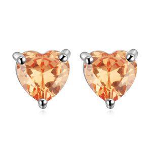 AAA grade zircon earring inlaid by hand  Heart Ran Champagne 16805