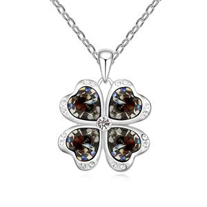 Austrian imitated crystal necklace - Four Leaf Heart Love (Black Rhinestone) 16702