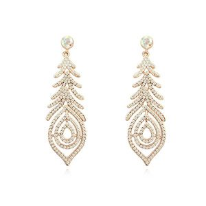 Austrian imitated crystal earrings  Streamer Fireworks Color white + Champagne Alloy 16671