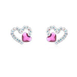 Austrian imitated crystal earrings  Exclusive love words Purple 16667