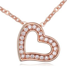 Necklace Micro Pave CZ AAA grade  Heart of the sea White + Rose Alloy 16534