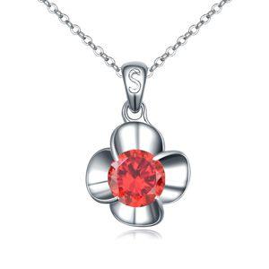 AAA grade zircon necklace handmade inlaid  Flowers made love Garnet red 16529