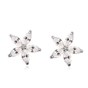 AAA grade zircon earring inlaid by hand  Flowers Pinellia White 16508