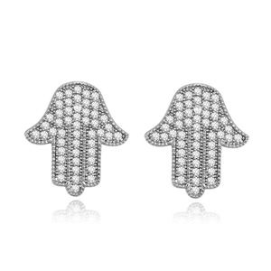 AAAMicro Pave CZ Stud Earrings  Hold your hand White 16505