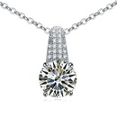 Necklace Micro Pave CZ AAA grade  Skeleton Key White + Champagne Alloy 16835