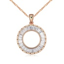 AAA grade zircon necklace handmade inlaid  After aura White + Champagne Alloy 16829